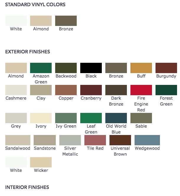 Color finishes for casement windows in york